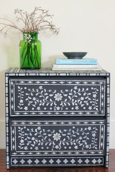 DIY Indian Inlay stenciled furniture from The Vintique Object- stencil from Cutting Edge Stencils http://www.cuttingedgestencils.com/indian-inlay-stencil-furniture.html