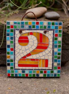 Mosaic house number by janotoole on Etsy, £45.00