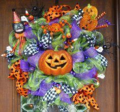 Deco Mesh JACK0LANTERN Halloween Wreath by decoglitz on Etsy