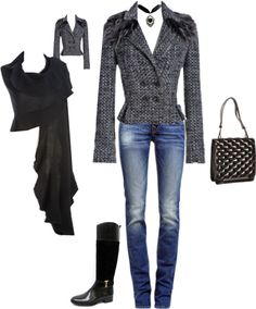 """tweed & jeans"" by jennihummel on Polyvore  For more information contact Maggie  at mmasferrer@wbyworth.com"