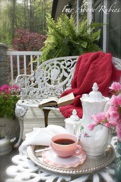 Tea & Book In The Garden