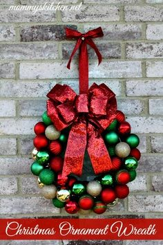 Mommy's Kitchen: DIY Christmas Ornament Wreath {Holiday Decorating}