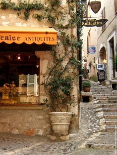 Saint-Paul-de-Vence, France.  This art colony is perched on a hill in Provence.  I love it. Bought a painting here.