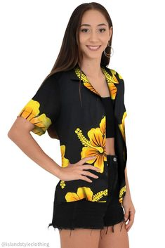Floral Womens Hawaiian shirt black with large yellow hibiscus. Floral button down blouse with open collar perfect for a luau, fancy dress party, uniform, casual or cruise.  #ladieshawaiianshirt #hawaiianshirt #ladiesshirt #ladieshawaiianshirt #fancydress #uniform #luau #cruise #cruisewear #springbreak #barshirt #schoolies #luaushirt #luau #partyshirt #bluehibiscusshirt #floralshirt #uniforms #alohashirt #ladiesalohashirt