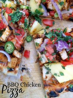 Grilled BBQ Chicken Pizza! Love all the fresh veggies and the rub on the chicken is awesome!