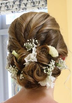 Hair by Amelia Garwood (Amelia Garwood Salon, Norfolk) - Updo with multiple loose twists pinned with a mix of white flowers. idea, straight hair, bridal hairstyl, wedding styles, medium length hairstyles, wedding hairs, fresh flowers, blonde hairstyles updos, wedding hair styles