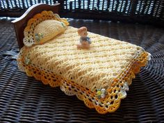 Miniature Dollhouse Crochet Bedspread with Pillow.