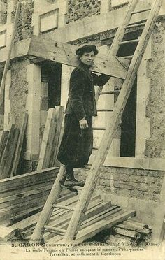 Woman working in construction.
