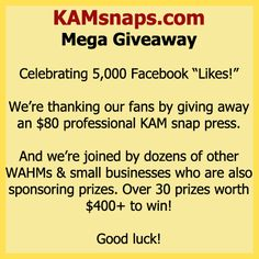 5,000 Facebook Likes Giveaway. Over 30 prizes to win, including a professional table-top KAM snap press!