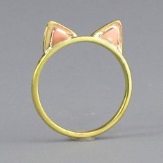 Pink and gold kitty ears ring