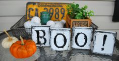 """funsize creations: Cute blocks made from scrap pieces of wood.  Great idea.  Could also make """"scarey!"""" """"trick or treat"""".  Love how she distressed it."""