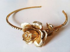 Vintage Gold Rose and Antique Pearls Headband
