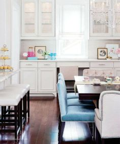 interior design, decor, dining rooms, color, dining chairs, bar stools, white cabinets, style at home, white kitchens