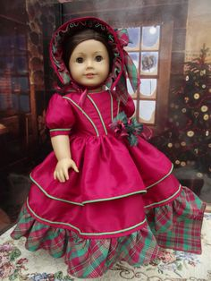 "Poppy Red 1850's Christmas Holiday Set  for 18"" dolls OOAK"