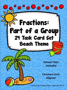 Fractions Part of a Group - Task Cards - Beach Theme ($)
