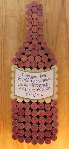 Made to order handmade wine cork wine bottle cork board with hand cut wine label & personalized hand written calligraphy quote. Add a wedding date for perfect wedding gift or any event such as anniversary, birthday, retirement, wine bar opening... Secure hand cut wood backing with hanging bracket in place. Ready to hang... on Etsy