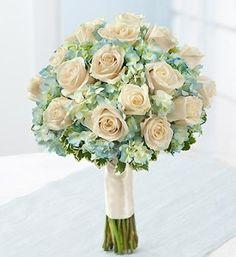 Light blue hydrangea and rose bouquet