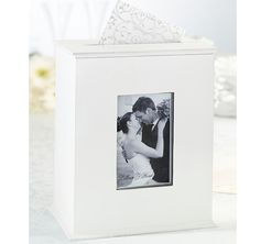 This Wedding Photo Card Box makes a unique and great card box for the wedding reception, as well as a wonderful keepsake holder for cards or photos after the big day.