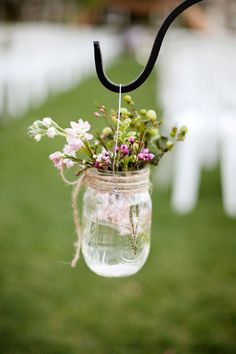 Mason Jar Wedding Details, Aisle Decor. OMG i love this idea! I wanna do this! artificial flowers, aisl decor, hanging flowers, mason jar wedding, wedding aisles, fresh flowers, wedding details, mason jars ideas for weddings, little flowers