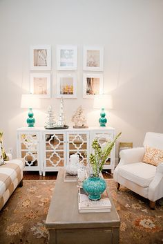 could create the console with old wooden window or screen parts. just add fresh paint!