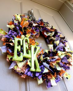 halloween decorations, holiday, craft, rag wreaths, halloween door, front doors, ribbon wreaths, halloween wreaths, fabric scraps