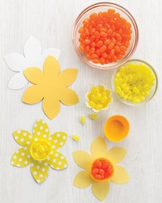 Make daffodils from baking cups and flower cutouts for your Easter or spring table.