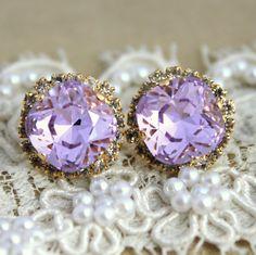Provance Purple violet lavender Crystal stud big earring - 14 k plated gold post earrings real swarovski rhinestones