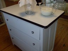 DIY kitchen island w/vintage enamel table top