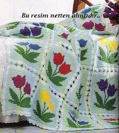 tulip-patterned crocheted blanket ❥Teresa Restegui http://www.pinterest.com/teretegui/❥