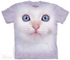White Kitten Face T-Shirt at theBIGzoo.com, an animal-themed superstore.