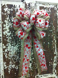 Rustic Burlap valentines day bow