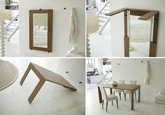 Folding & Expanding Tables Small Space Solutions. Mirror to Table