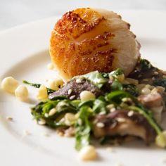 Seared Jumbo Sea Scallops with Wilted Arugula, Corn, Shiitake Salad & Soy Ginger Vinaigrette - SippitySup