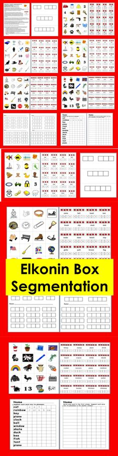$3.00 Elkonin Boxes Segmenting-  16 Page File – 100 Self-Correcting Words to Segment and/or Record – Full color graphics,  but prints out nicely in B  W. Elkonin Boxes for 2, 3, 4 and 5 phoneme words.