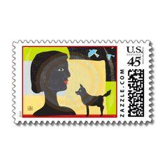 illustr stamp, bird fine, stamp project, dog