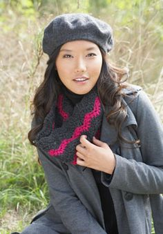 The classic ripple stitch gets an on-trend update in this Rickrack Ripple Cowl, featuring bold, graphic neon zig-zag stripes. Shown in Patons Shetland Chunky.