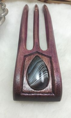 Purple Heart Hair Fork Featuring Botswana Agate by LarksHairSticks, $58.00