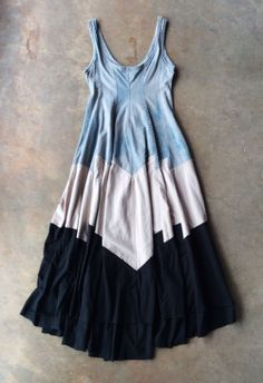 In Store Now: Alabama Chanin's Colorblock Tiered Dress in Natural Blue Grey, Nude, and Black. $825.