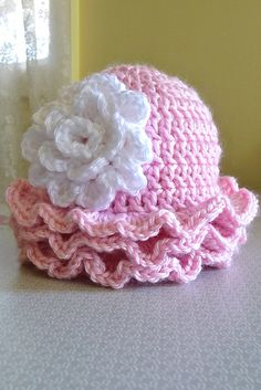 Ravelry: Rows of Ruffles Hat {free pattern} free pattern, ruffl hat, hat patterns, babi hat, crochet baby shoes, belle, beanie hats, crocheted baby shoes pattern, hat free