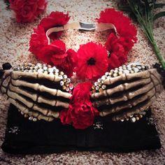 I MADE DIS!! #EDC #bra #festival #skull #flowers
