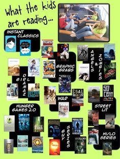 A poster I created for teachers depicting the hottest trends and titles in Y.A. lit specifcally at our school #library displays