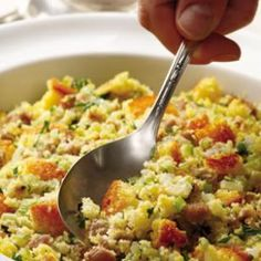 Cornbread & Sausage Stuffing:  Cornbread stuffing, a Southern favorite, is a nice change from more traditional white-bread stuffing. Our delectable recipe uses Italian turkey sausage, rather than pork, and omits all the butter and cream to cut the fat by two-thirds. The stuffing is lower in sodium as well and so easy to make that it's sure to become a favorite side year-round.