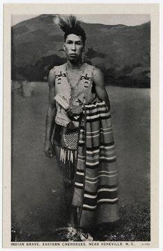 Cherokee Indian Brave / 1915; Eastern Cherokees near Ashville, N.C.