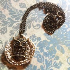 Crochet Circle and Antique Owl Necklace From Bolthouse Designs & Whatnots