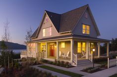 Love, love, love!!! front porch design, red doors, lake houses, house design, cottage design, san juan, wrap around porches, cottage style, front porches