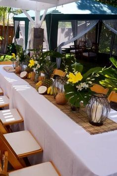 Tropical Hawaiian Luau table settings..  Love this setting