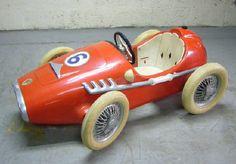 vintage Ferrari Tipo 500 F2 racer pedal car circa 1950's,