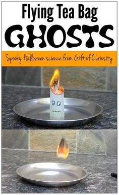 Best Halloween STEM activity ever!! If you are looking for a Halloween science activity that the kids will be screaming with excitement about, make some flying tea bag ghosts and you won't be disappointed! || Gift of Curiosity