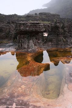 A clear reflective pool on top of Mount Roraima,(the site of Angel Falls) Venezuela.