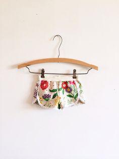 Flower garden boho lace trimmed infant and toddler shorts